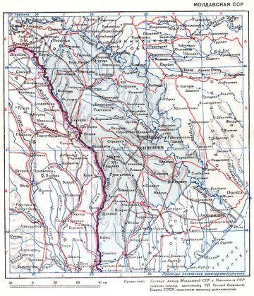 Harta Republicii Sovietice Socialiste Moldovenești,1940