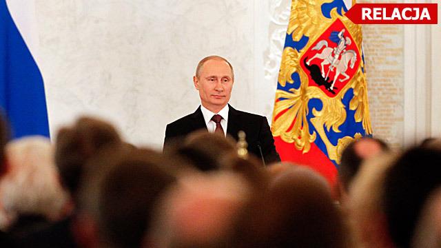 Putin în timpul discursului dedicat anexării Crimeei
