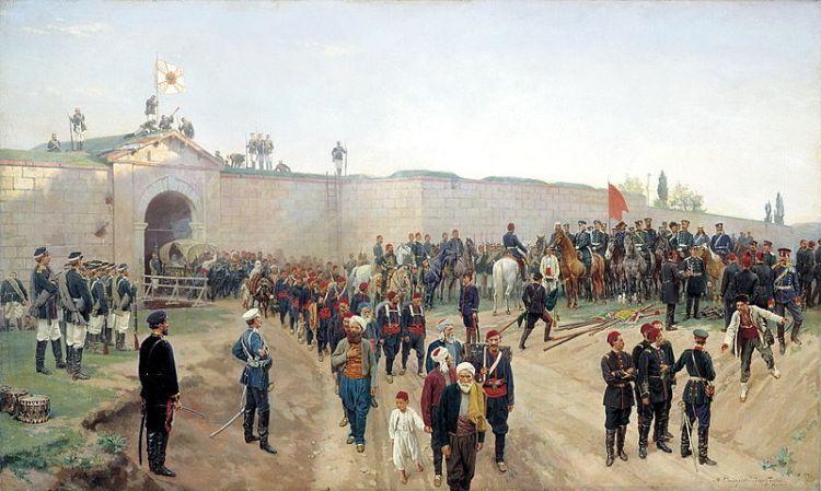 Capitularea garnizoanei turce de la Nikopole, pictură de Nikolai Dmitriev-Orenburgski, 1883