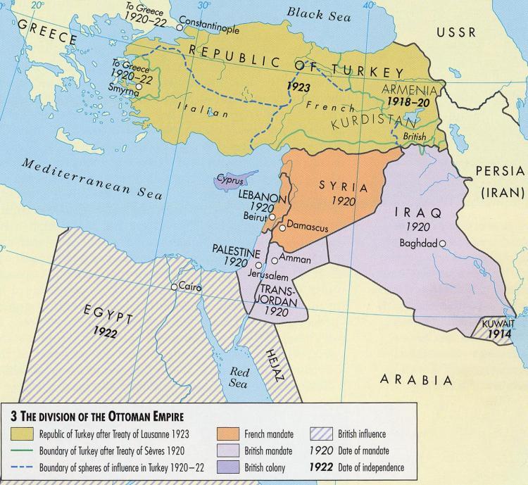 Dezmembrarea Imperiului Otoman după Tratatul de la Versailles.