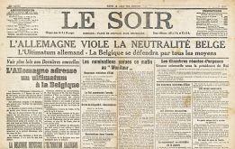 Gazeta belgiană ''Le Soir'' despre încălcarea statutului de neutralitate al Belgiei de către trupele germane,4 august 1914