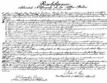 Rezoluția Unirii Transilvaniei cu Regatul României.,18 noiembrie/1 decembrie 1918,Alba-Iulia
