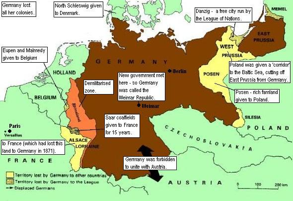 Pierderile teritoriale ale Germaniei după Tratatul de la Versailles.