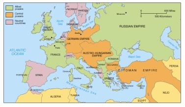 Reprezentarea politico-geografică a țărilor Antantei și Puterilor Centrale.