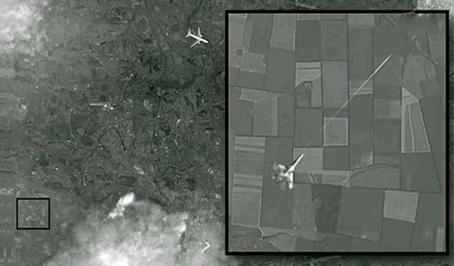 Satellite caption with presupposed Ukraine's  MIG-29 strike on MH17 civil airplane,crashed on 17.07.2014 in Ukraine's Donbass