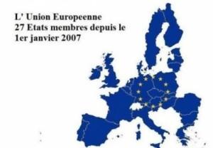 Card poștal francez. (2013) Basarabia,Bucovina de Nord și Dobrogea,reprezentate ca parte a Uniunii Europene în componența României.