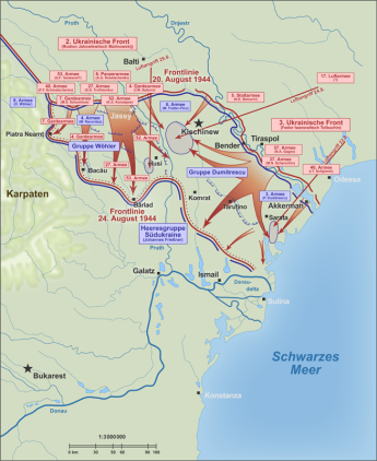 Situația frontului din Moldova în august 1944