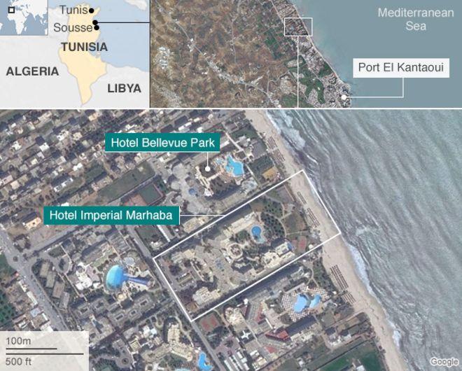 Orașul tunisian SUS. Hotelurile lângă care au avut loc focurile de armă.