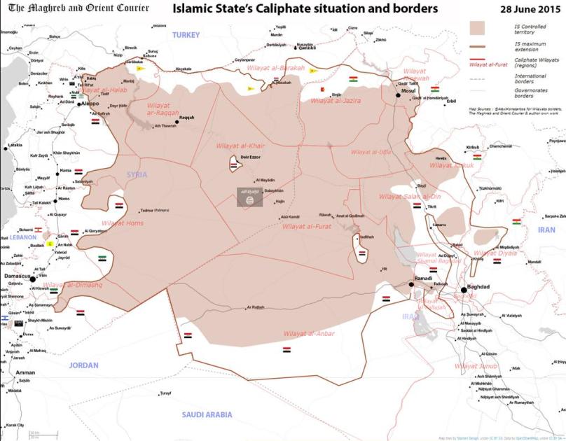 Frontiere e dimensioni dello Stato Islamico dell'Iraq e della Siria.