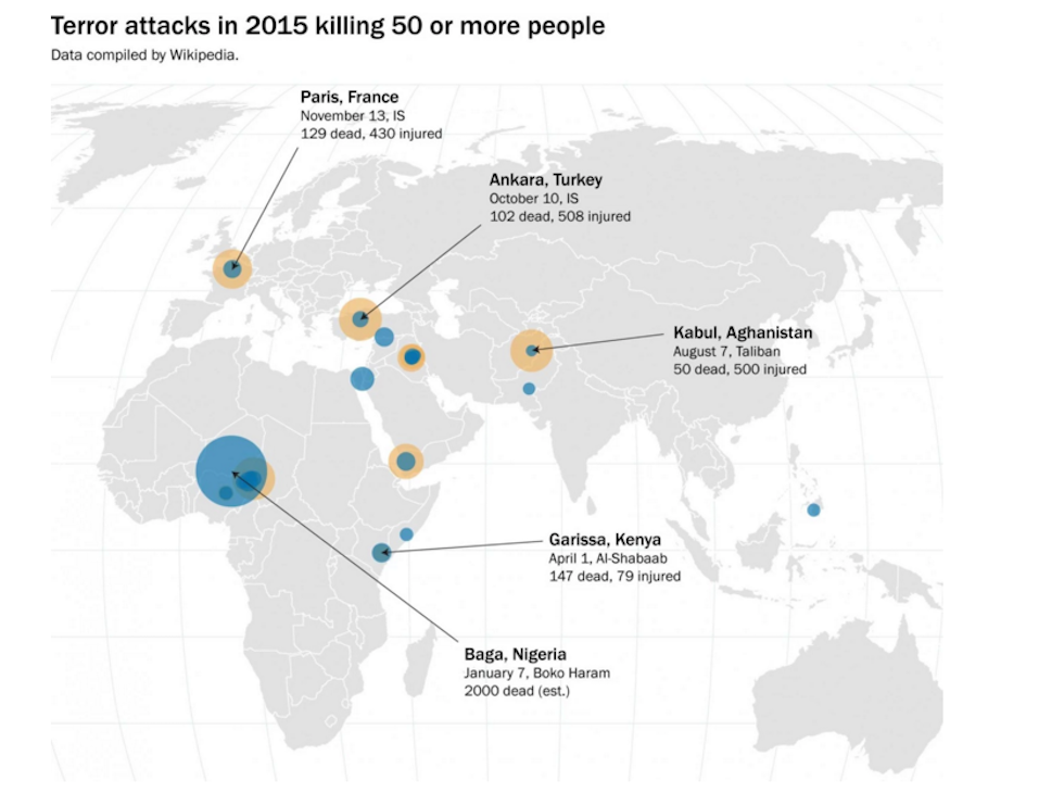 Terror attacks in 2015 with more than 50 killed people; courtesy of washingtonpost.com